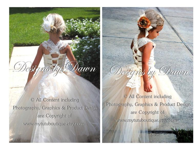 Wedding - Custom Handmade Ivory & Champagne Flower Girl dress with lace! Includes corset top, skirt with train and hair piece. More colors available