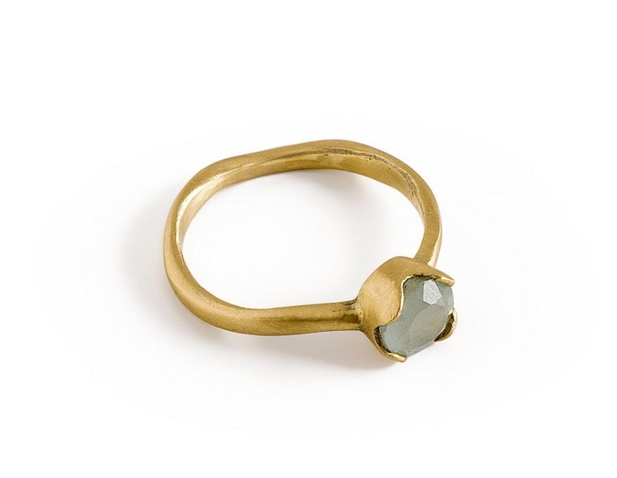 Hochzeit - Aquamarine Engagement Ring, 14K Solid Gold Milky Aquamarine Ring, March Birthstone Ring.