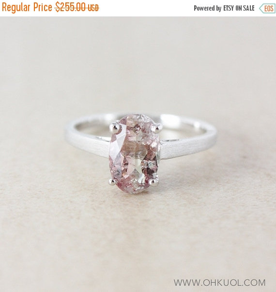 Mariage - XMAS SALE Pink-Clear Tourmaline Engagement Ring - Oval - 925 Sterling Silver