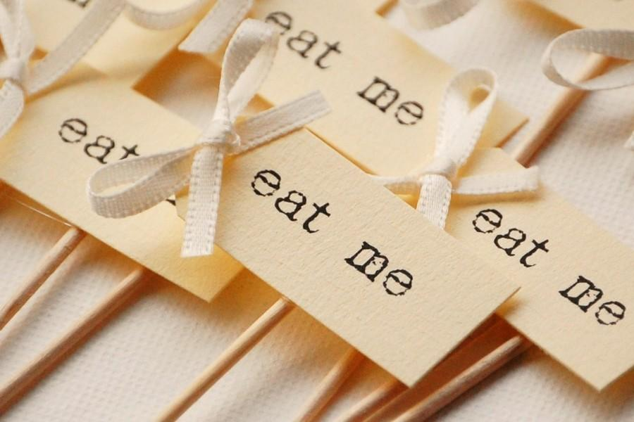 Hochzeit - Eat Me Party Picks - cream with ivory bows - set of 10