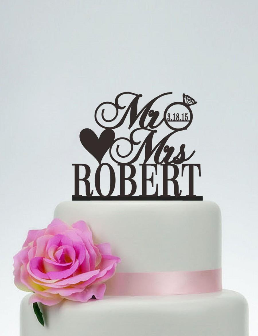 Свадьба - Wedding Cake Topper,Custom Cake Topper,Mr and Mrs Cake Topper With Last Name and Date,Unique Cake Topper,Personalized Cake Topper C083