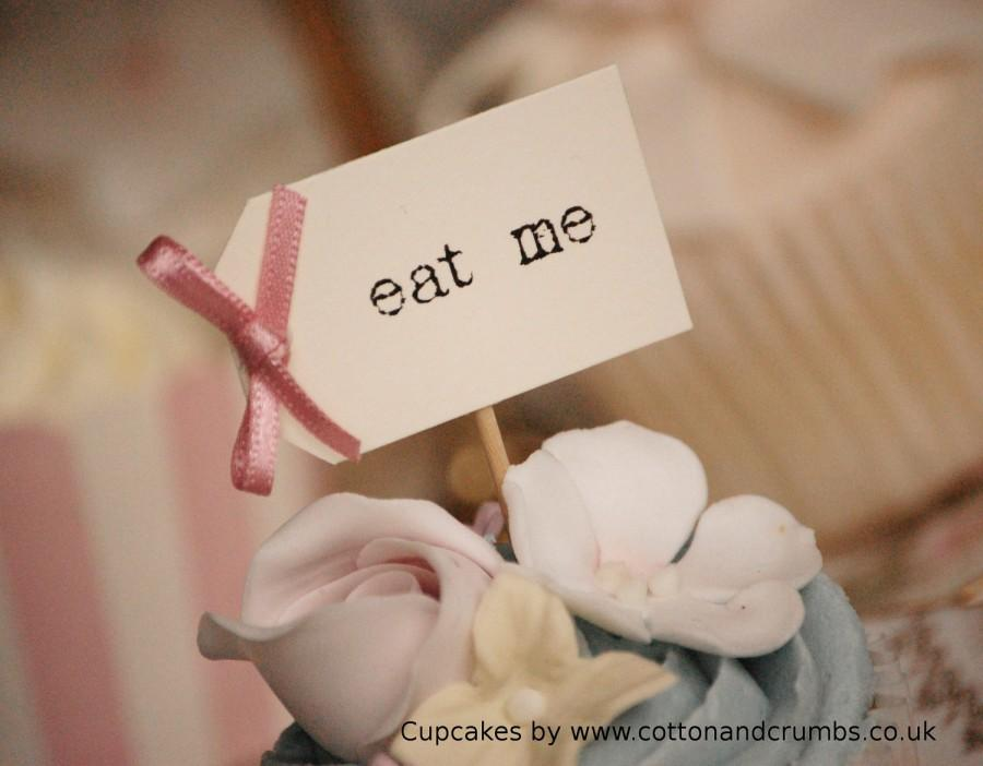 Mariage - Eat Me Party Picks - cream with dusky pink bows - set of 10