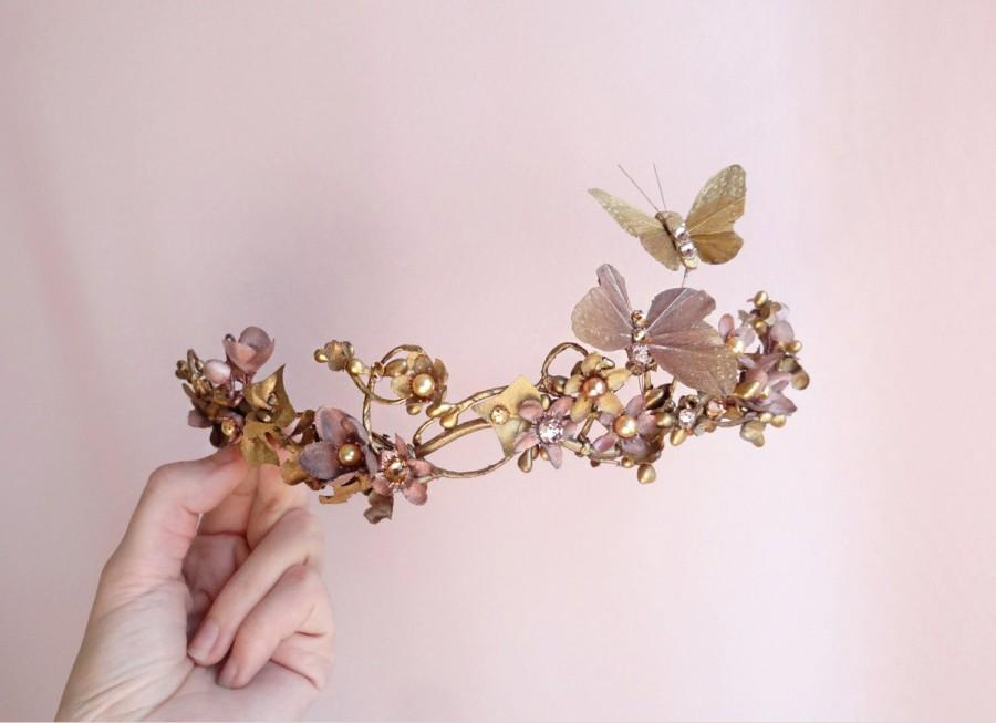 Mariage - bridal hair piece, gold bridal headpiece, butterfly hair accessories, bronze wedding hairpiece, Swarovski crystal hair clip, hair vine