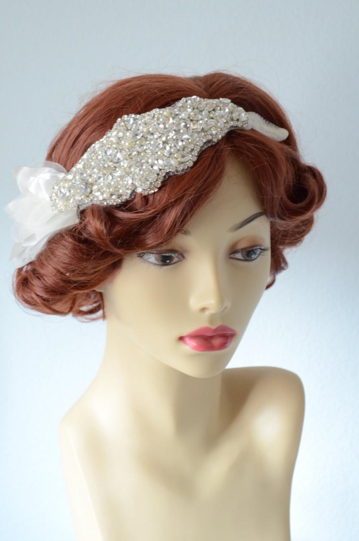 Wedding - READY TO SHIP,One of a Kind Ivory tulle Bandeau, Boho headband, Petal headband, Petal headpiece, Ivory tulle headband, 1920s, Pearl, Crystal