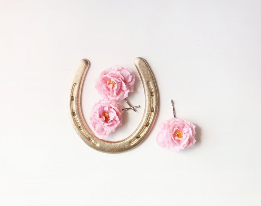 Blush Pink Hair Flower Or Brooch Bridal Wedding: Pink Rose Hair Clips, Flower Bobby Pins, Bridal Hair