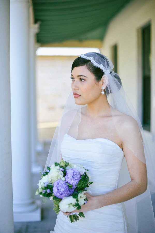 Wedding - Wedding veil, Lace veil, Juliet Cap Veil with French corded lace trim in waltz length, soft tulle