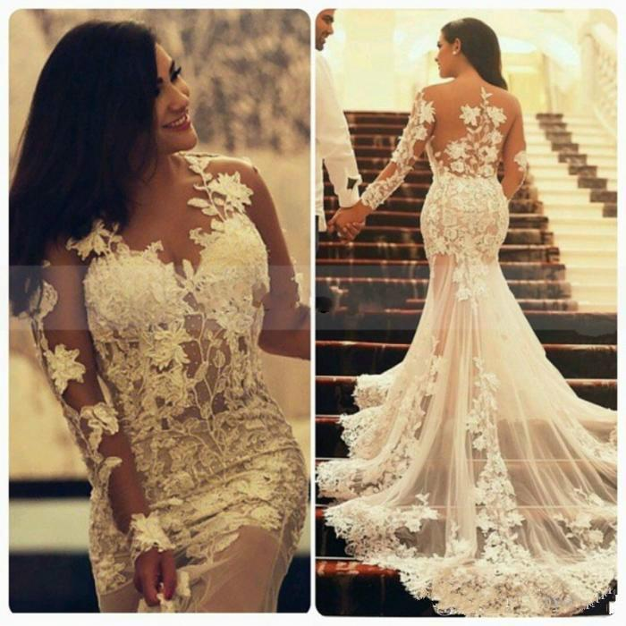 Mariage - Sexy Mermaid Lace Wedding Dresses with Long Sleeves Illusion 2015 Crew Neck Appliques Ruffles Arabic Wedding Bridal Gowns Garden Ivory Online with $127.28/Piece on Hjklp88's Store