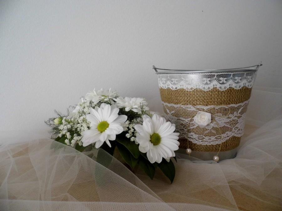 Mariage - Flower girl basket bucket rustic wedding shabby chic wedding accessory here comes the bride