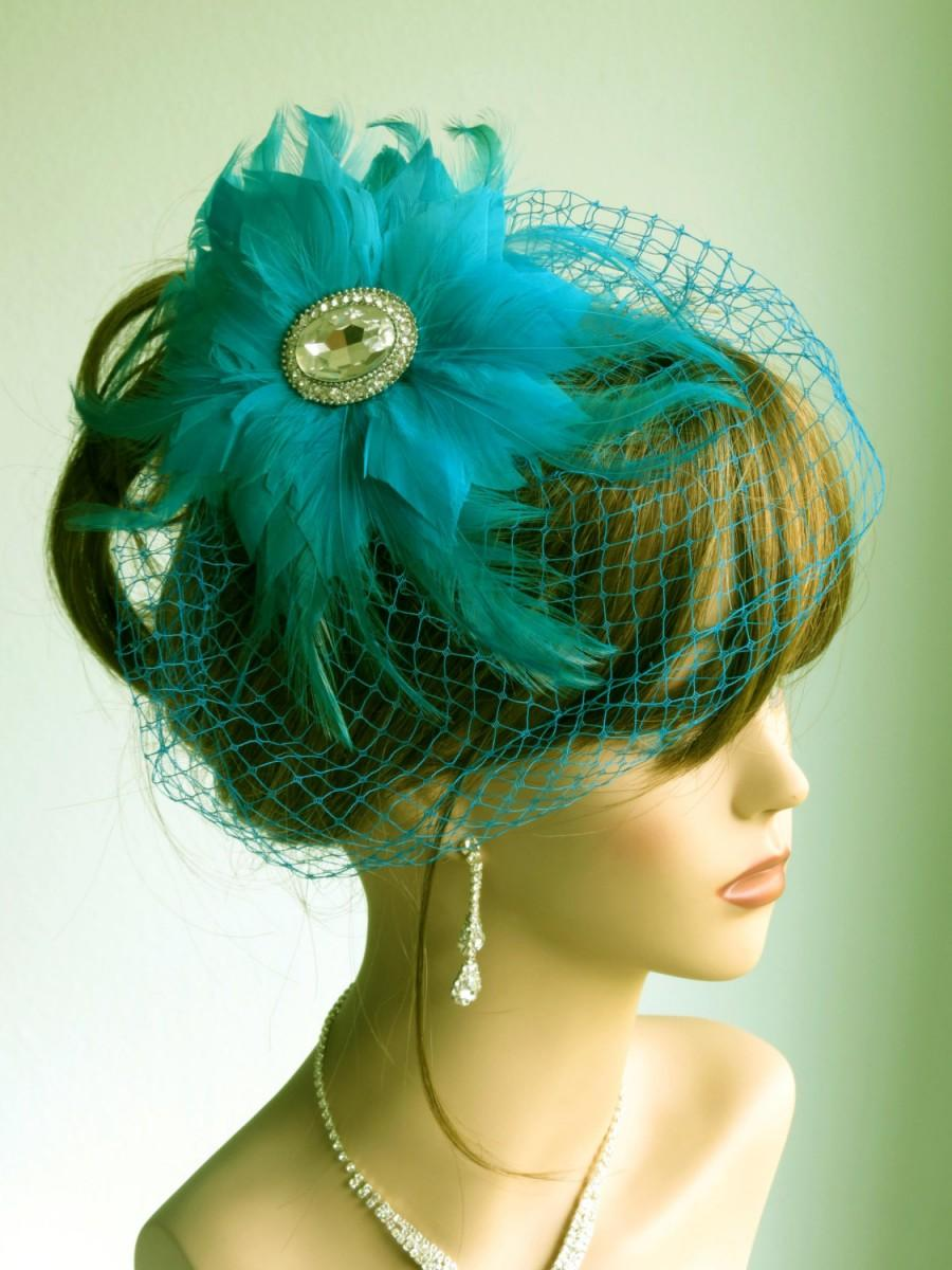 Mariage - Turquoise Wedding Head Piece With Bridal Birdcage Veil Fascinator Wedding Accessory Feathers