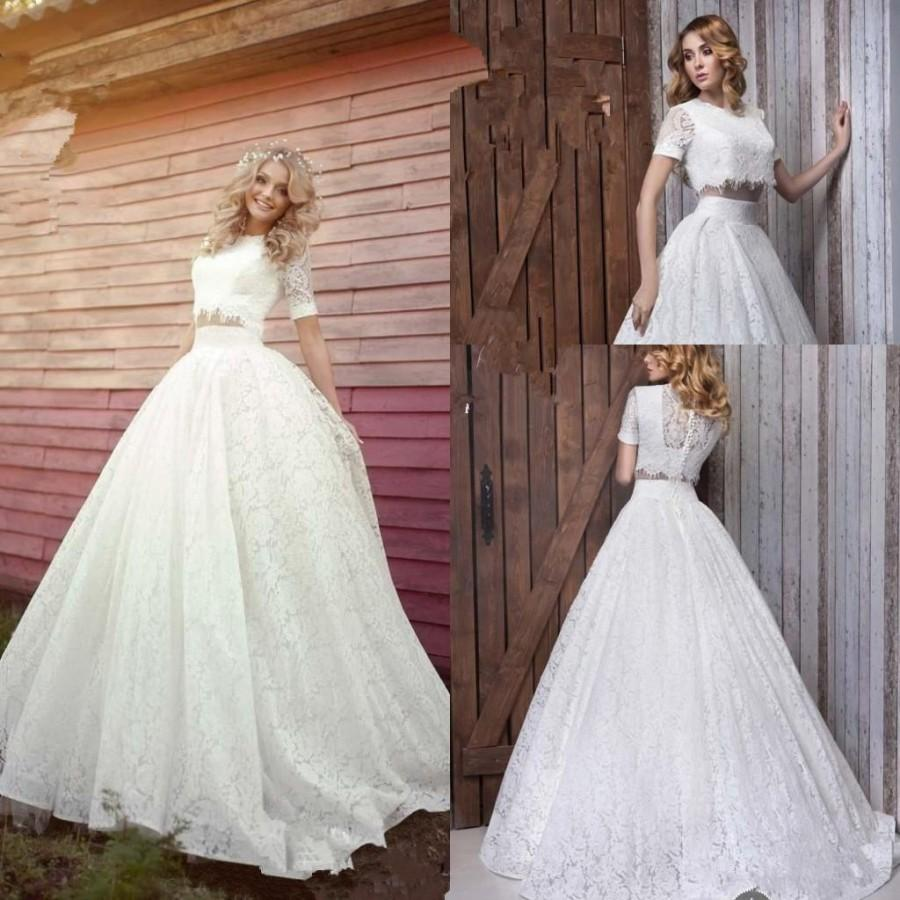 Wedding - Romantic Two Pieces 2016 New Designer Wedding Dresses A-Line Short Sleeve Crew Neckline Lace Chapel Train Bridal Gowns Wedding Ball Online with $129.95/Piece on Hjklp88's Store