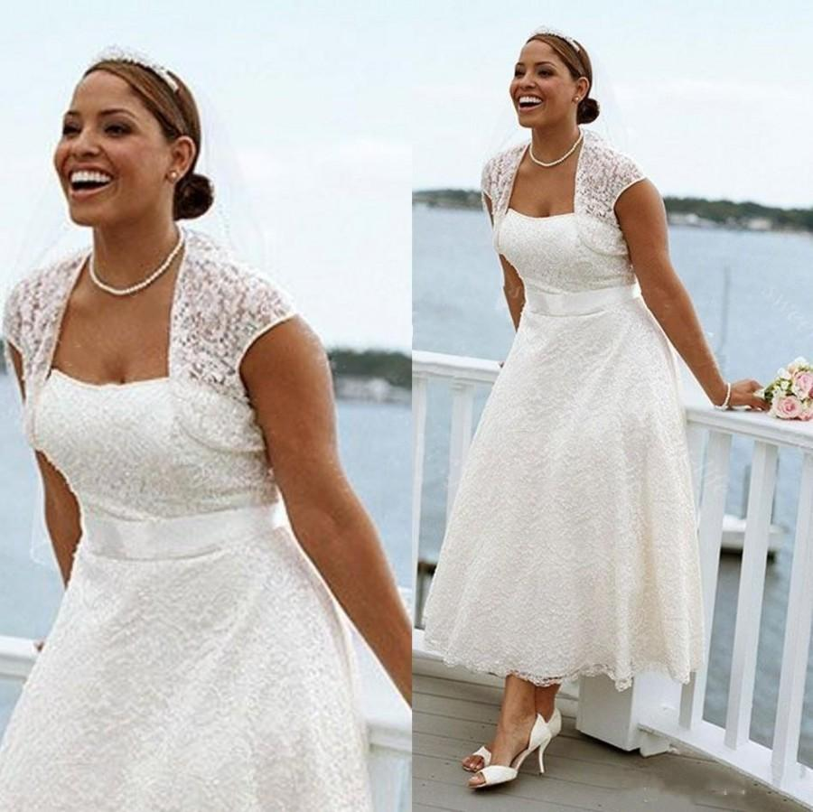 Hochzeit - Sexy Plus Size Summer Beach Short Wedding Dresses Lace With Jacket Tea Length Strapless Bridal Ball Gowns Cheap Custom Dress for Wedding Online with $105.03/Piece on Hjklp88's Store