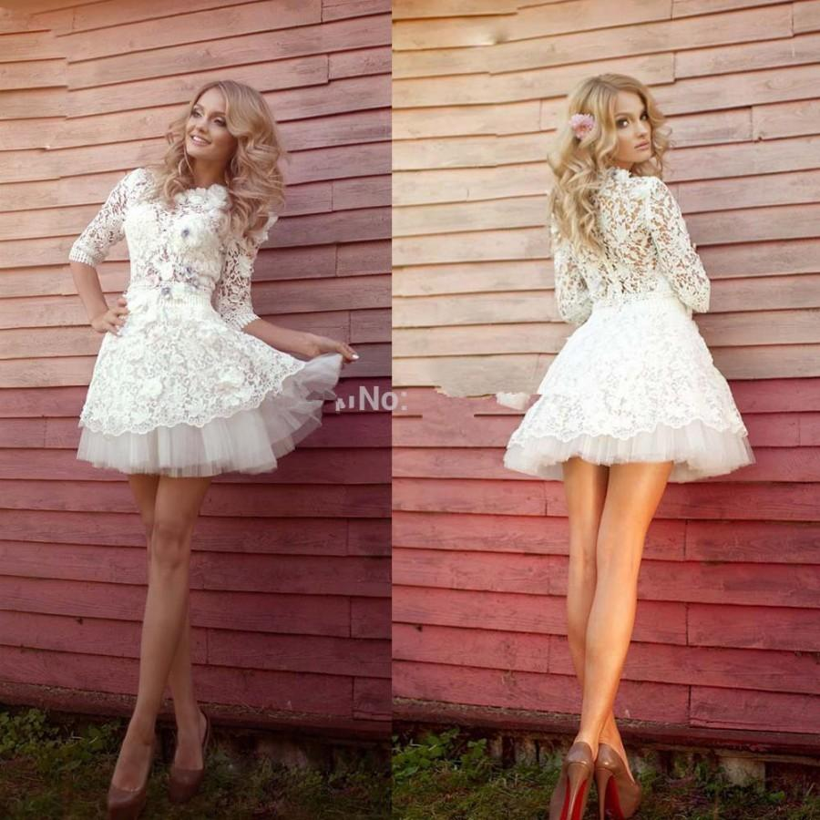 Sexy beach short mini wedding dresses summer 2015 sheer for Sexy summer wedding dress