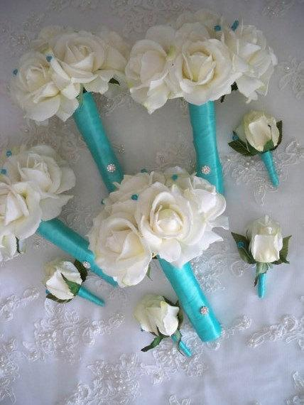Hochzeit - Cream/white Realtouch Roses wrapped in Robin Egg Blue Blue Bridal and Bridesmaids Bouquet Set