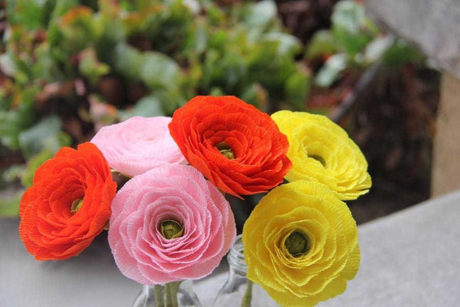 Hochzeit - Ranunculus Flowers- Paper Ranunculus-Ranunculus Wedding Bouquet - Crepe Paper Ranunculus- Buttercups