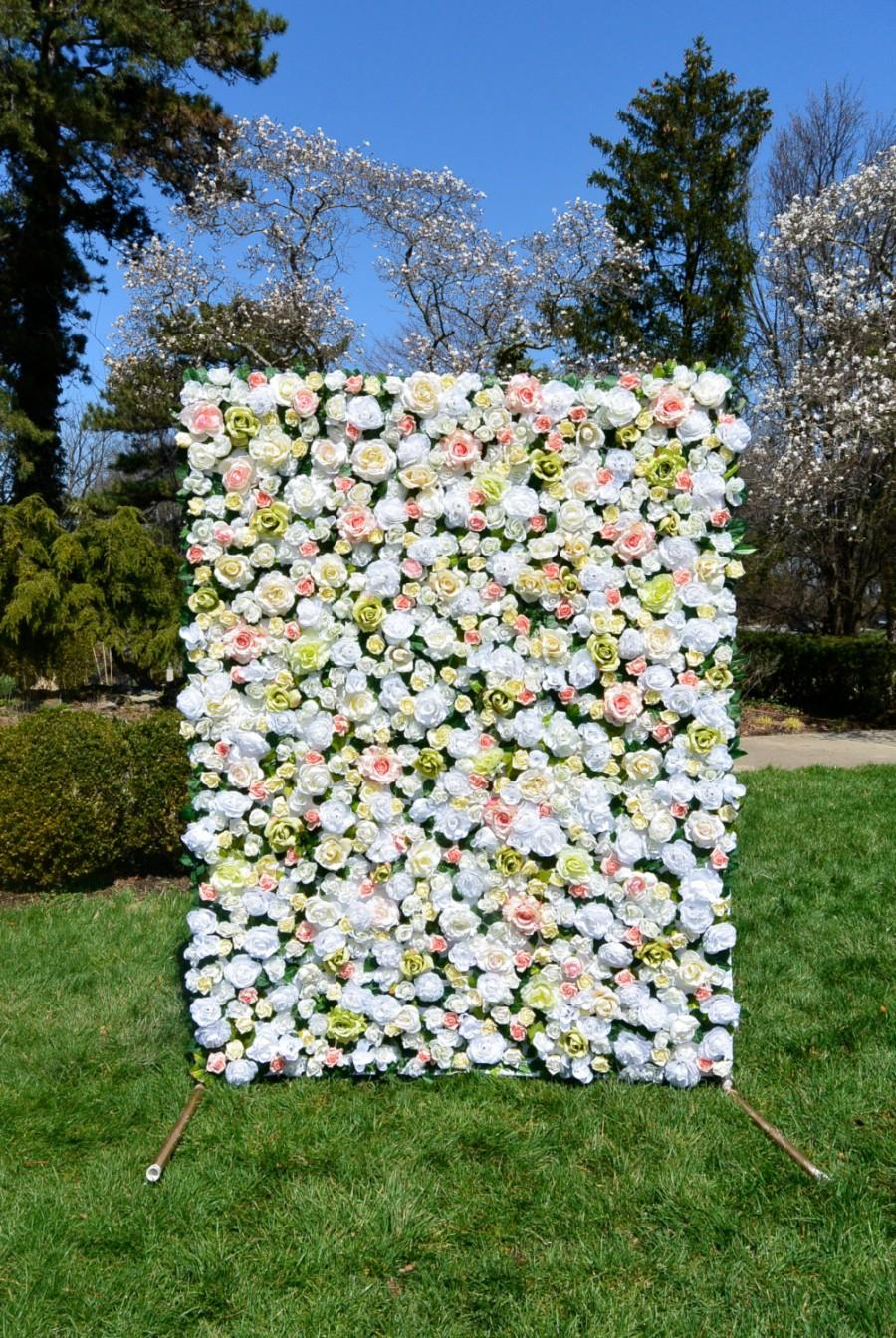 Mariage - 5' x 7' Ivory Faux Flower Wall // FREE Shipping