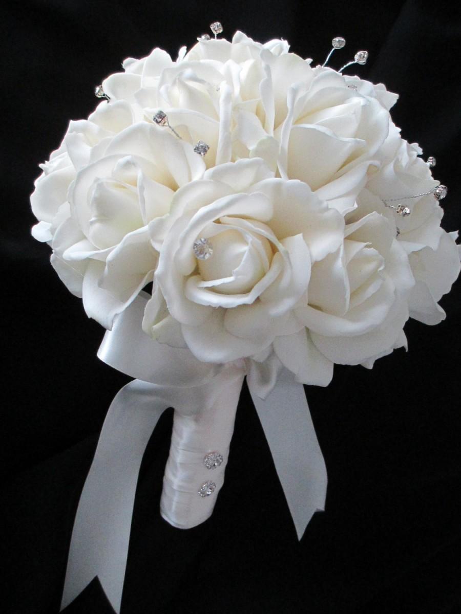 Hochzeit - Realtouch Cream/white Rose Bridal Bouquet and Boutonniere Set