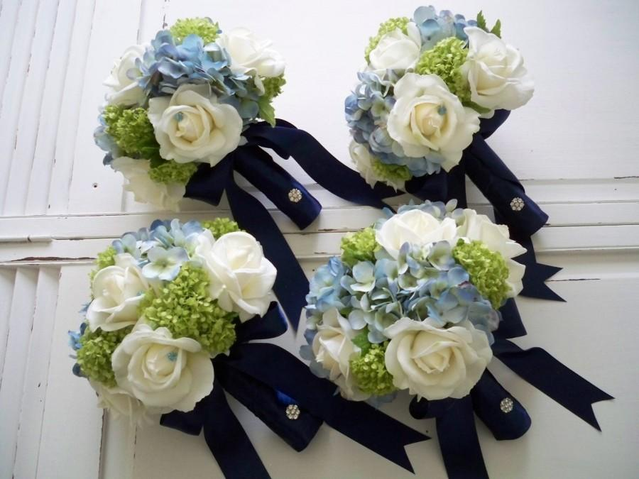 Mariage - Package Classic Navy and White Realtouch Rose and Silk Blue Hydrangea Bridal and Bridesmaids Bouquet Set