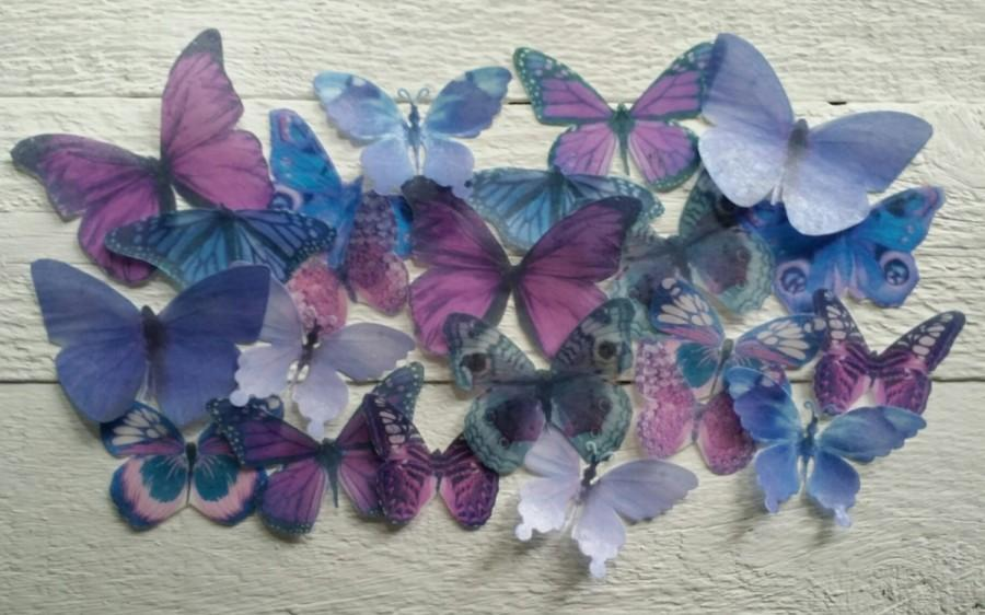 Свадьба - Edible Pastel-Purple Butterfly / Edible Cake / Cupcake Toppers, (24)