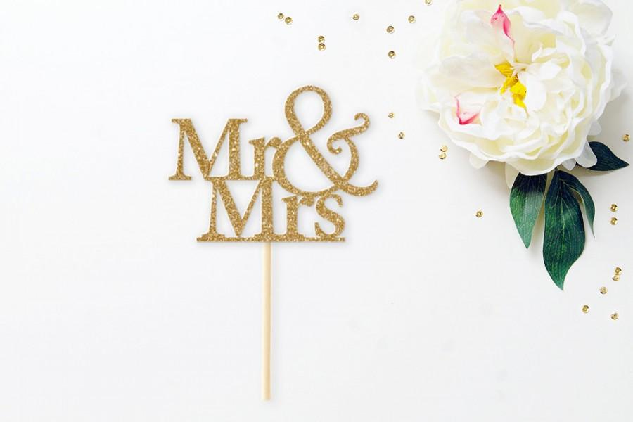 Mariage - Mr & Mrs glitter cake topper