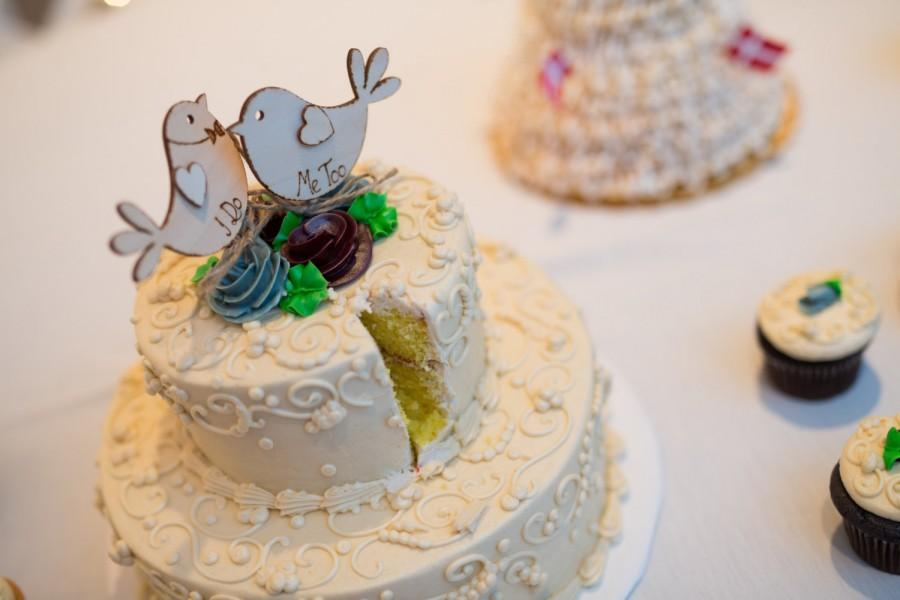 Свадьба - I Do MeToo / Bird Cake Topper / Rustic Cake Topper / Personalised Topper / Spring Wedding