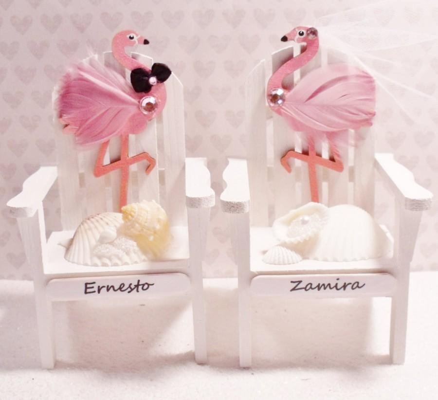 Hochzeit - Beach Cake Toppers - Feather Flamingo Adirondack Chair Cake Toppers - Florida Cake Topper Favorite