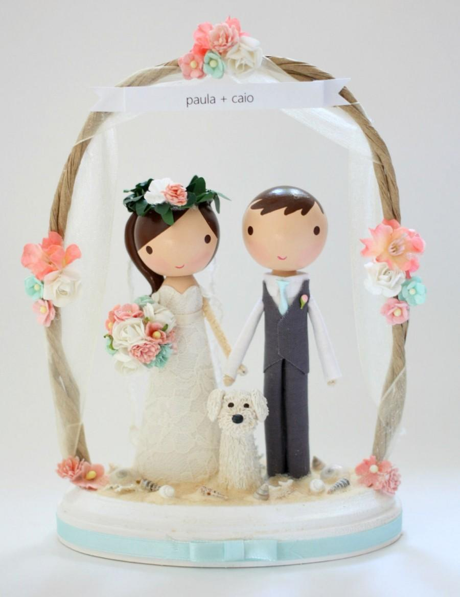 Mariage - custom beach wedding cake topper - with arch