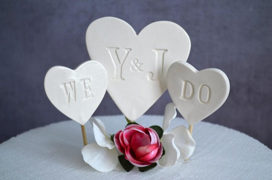 Hochzeit - PERSONALIZED Heart Wedding Cake Topper with Initials