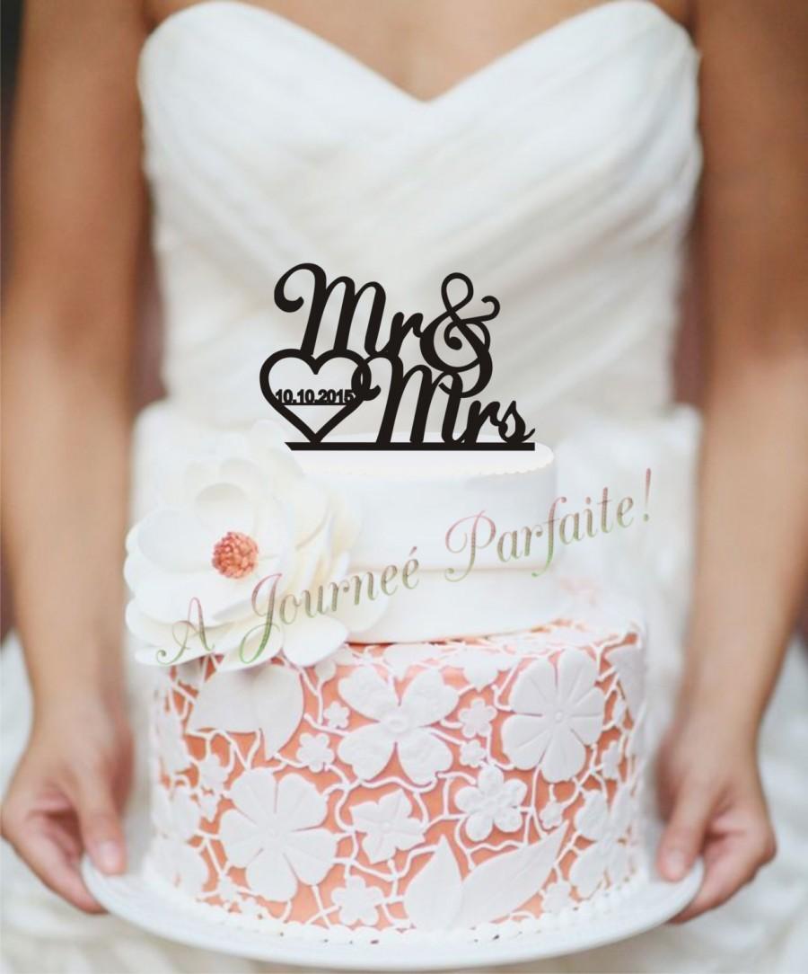 Hochzeit - Mr & Mrs Wedding Cake Topper with Date [AJP5]