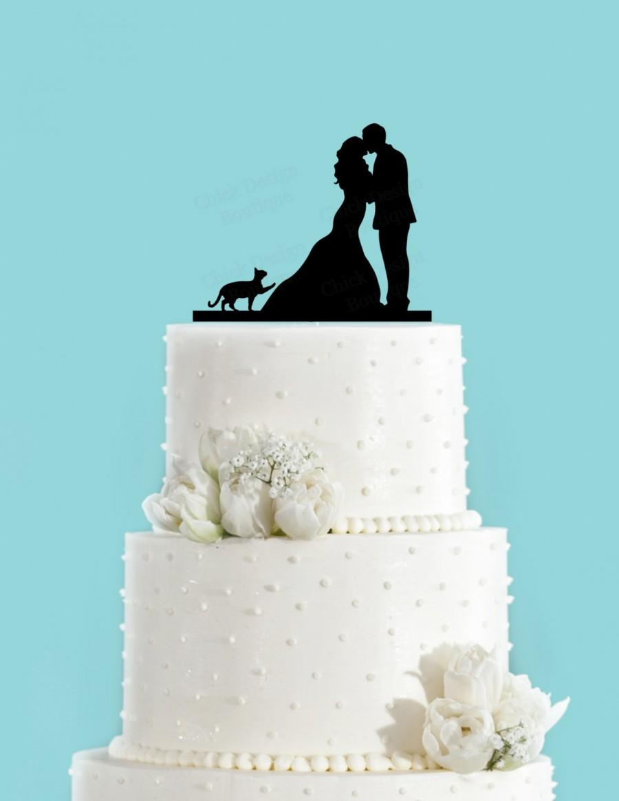 Mariage - Couple Kissing with Cat Pawing Acrylic Wedding Cake Topper