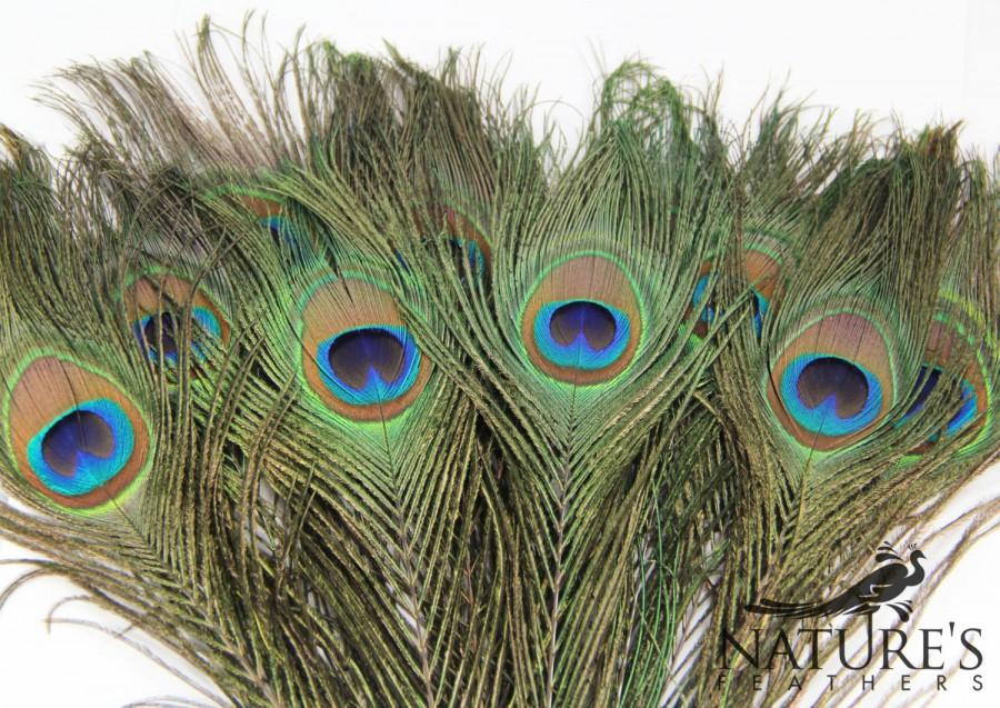 Mariage - 100pcs HQ Natural Peacock Feathers about 10-13 Inches