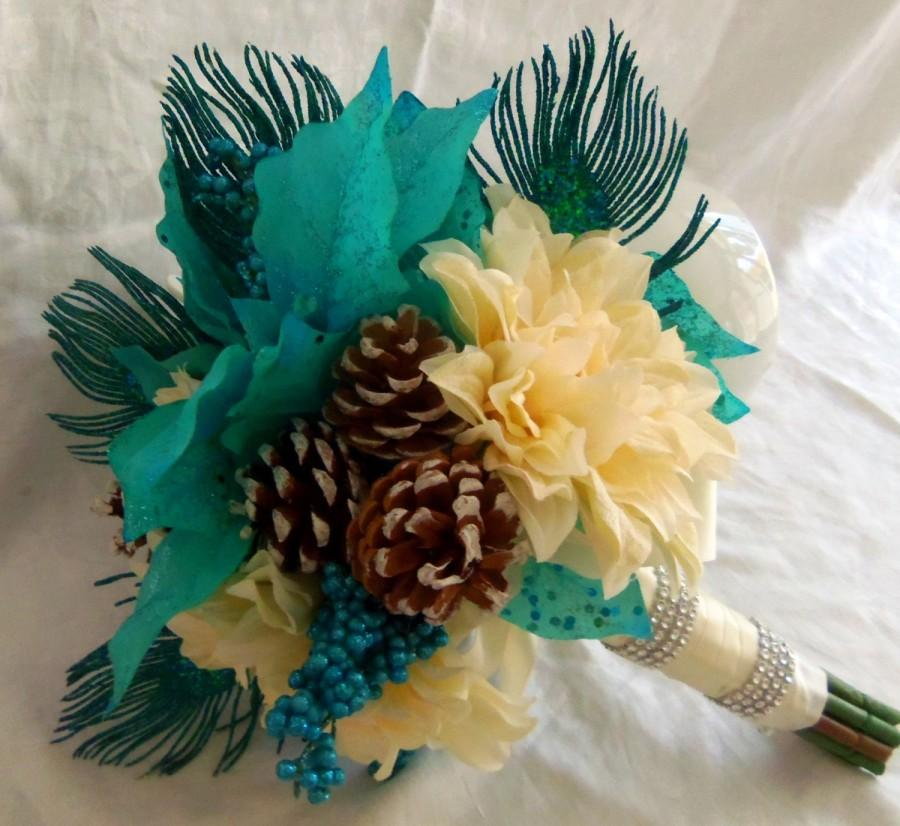 bb45a89b0a Winter Wedding Bouquet-Peacock Feather Poinsettia Pinecone Bridal Bouquet-  Made to Order