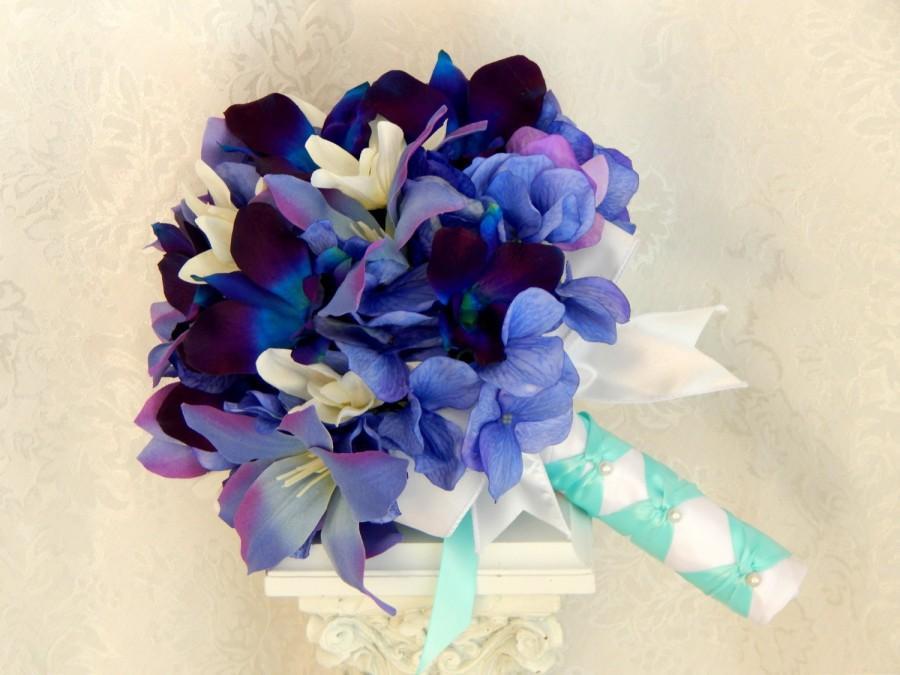 Blue Orchid Wedding Bouquet-Purple Hydrangea Wedding Bouquet- Tiger ...