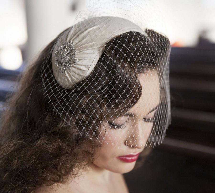 Wedding - 1950s style veil and headpiece - half hat and birdcage veil -1940s headpiece & veil - white, ivory, champagne, blush, pink, black