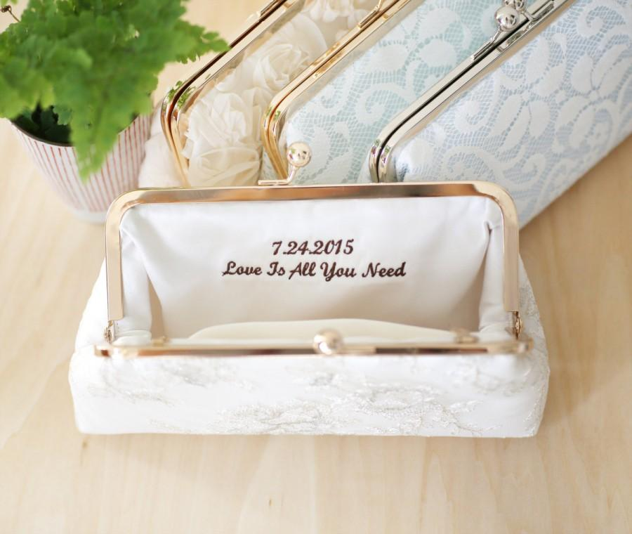 Wedding - Personalized Embroidery Clutch Bag Customization - 2-line message