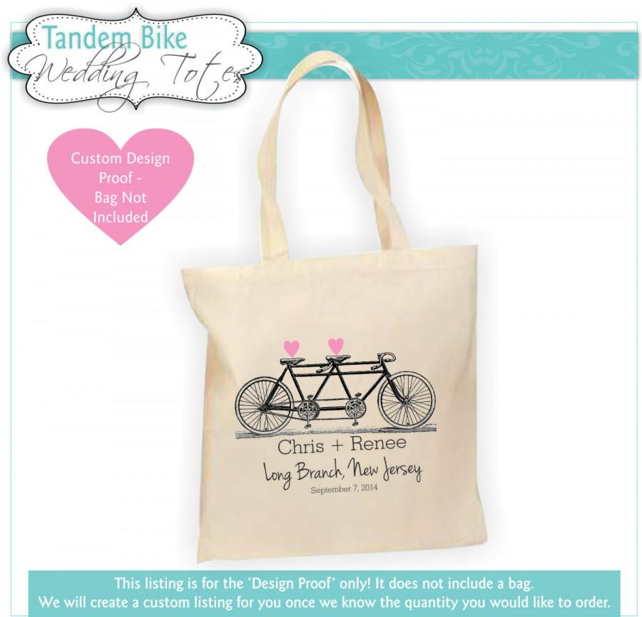 Destination Wedding Welcome Bag Gift Tandem Bicycle Bike Tote