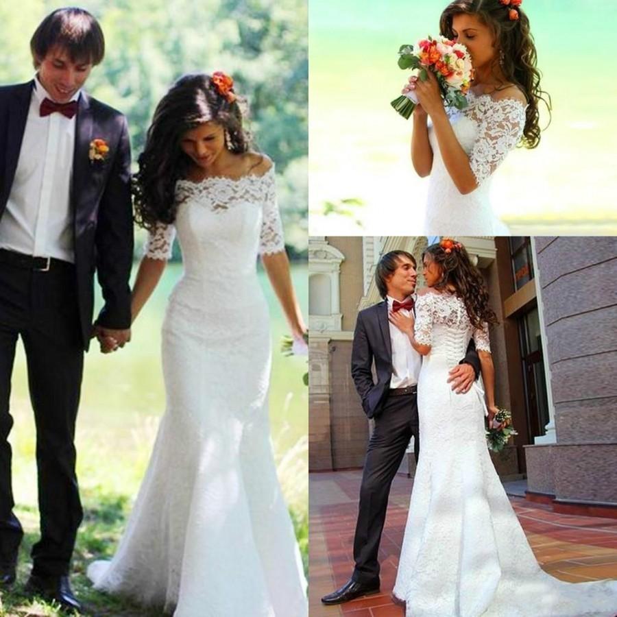 Elegant Mermaid Lace Wedding Dresses Spring Bateau Sheer Vestidos De Noiva 2015 Half Sleeves Up Back Slim Abraic Abaya Bridal Gowns Online With