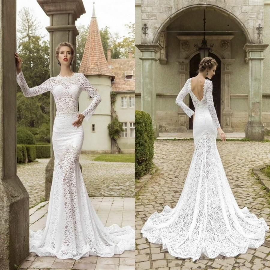 Fashion Lace Sweep Train Mermaid Wedding Dresses Ed Bodice 2017 Sheer Crew Neck Illusion Long Sleeve Garden Bridal Gowns Custom Online With