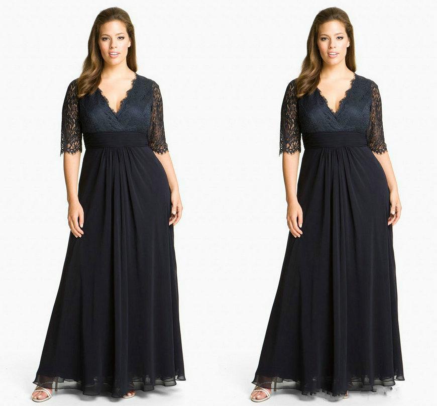 Cheap Plus Size Chiffon Mother Of The Bride Dresses Black Lace 2015