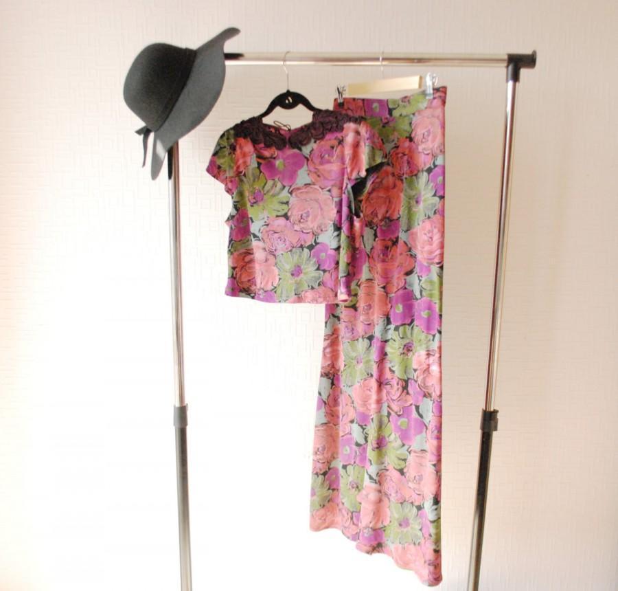 زفاف - FLOWER PRINT SET ~  Summer crop top ~ Purple maxi skirt ~ Evening maxi skirt ~ Long purple skirt ~ Floral print ~ Rayon skirt ~ Purple top