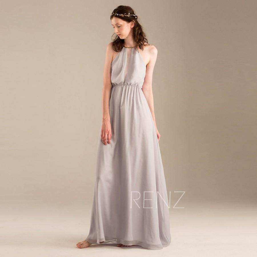 2015 light grey halter bridesmaid dress gray wedding dress long 2015 light grey halter bridesmaid dress gray wedding dress long chiffon party dress backless formal dress prom dress floor length f242 ombrellifo Images