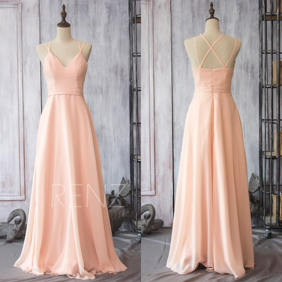 2017 Peach Chiffon Bridesmaid Dress Blush Pink Wedding Spaghetti Strap Party Long Formal Floor Length F089
