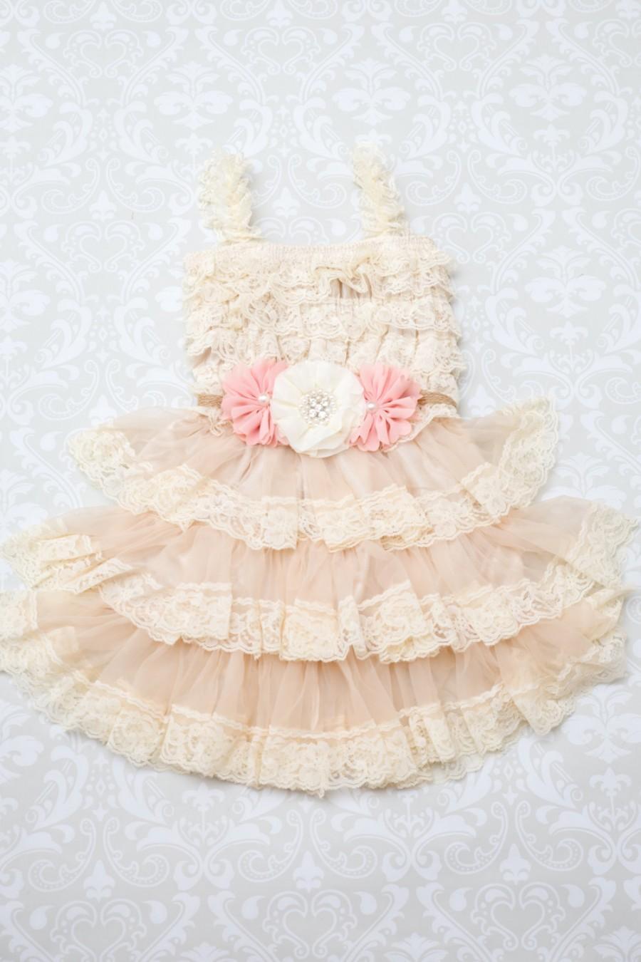 Hochzeit - Blush Ivory Flower Girl Dress - Champagne Flower Girl Dress - Lace Flower Girl Dress - Shabby Chic Flower Girl - Rustic Flower Girl Dress