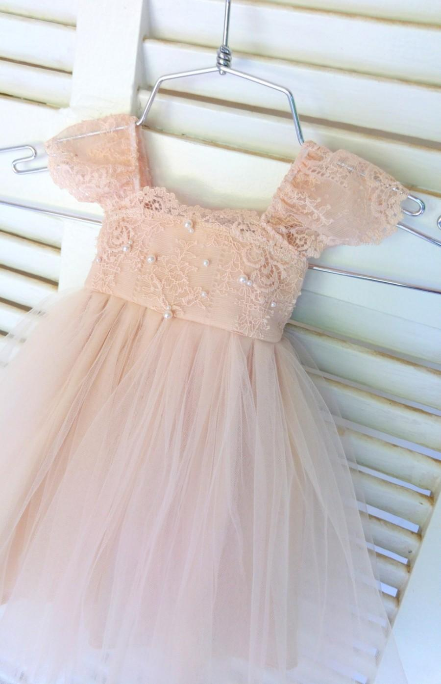 Rue Del Sol Blush Flower Girl Dress French Lace And Silk Tulle Dress