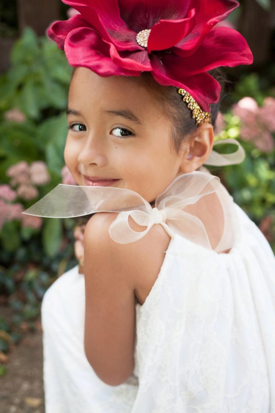 Свадьба - Flower Girl Dress, Ivory Lace Dress, White Lace Dress, Boho Flower Girl Dress, Communion Dress, Rustic Dress, Baptism Dress, Toddler Dress