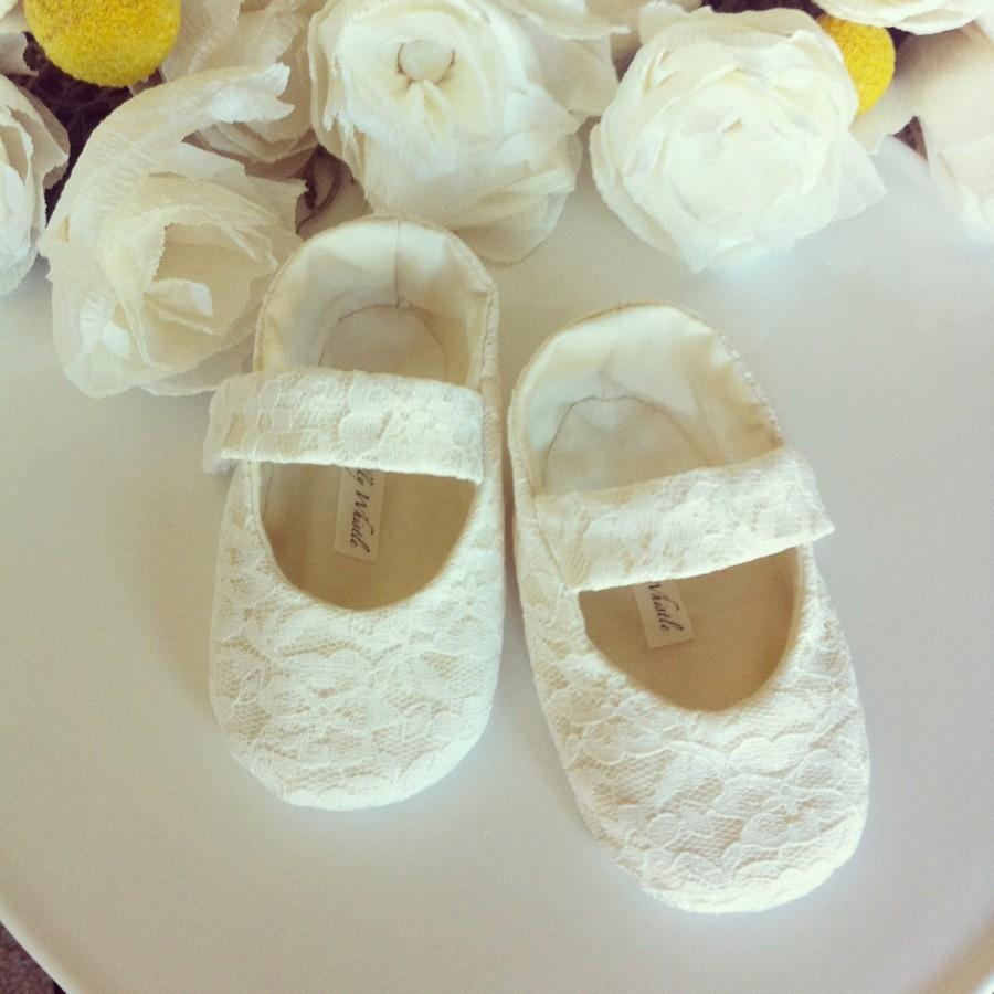 Lace Flower Girl Shoes Baby Girl Shoes Toddler Girl Shoes Ivory Lace