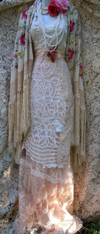 Boho Crochet Dress Wedding Dress Cream Lace Tulle Tiered Flapper ...