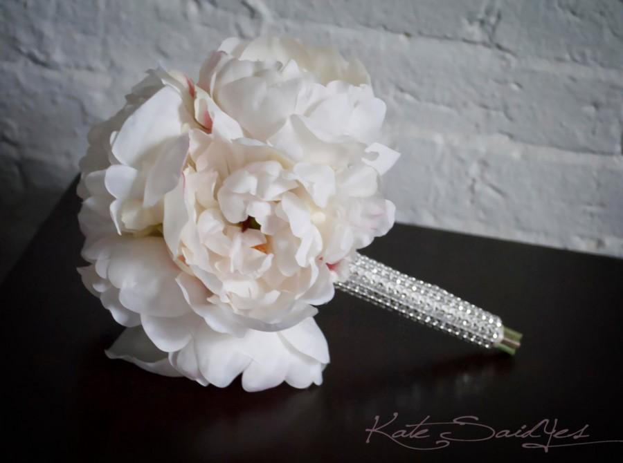Hochzeit - Petite Ivory Peony Wedding Bouquet with Rhinestone Handle