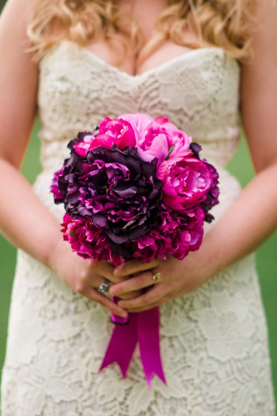 Свадьба - Fuchsia and Purple Peony Bouquet - Silk Wedding Bouquet