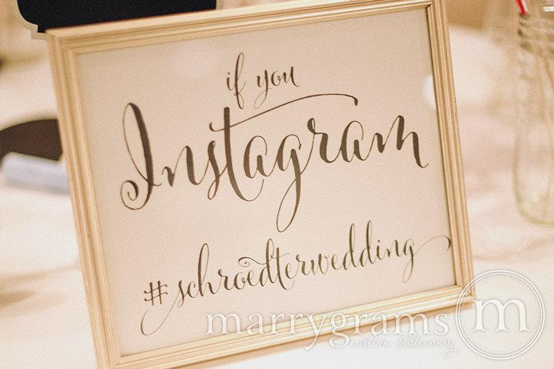 زفاف - Wedding Reception Instagram Sign - Social Media Wedding Sign -  Hashtag Sign - Matching Table Numbers Available  SS07