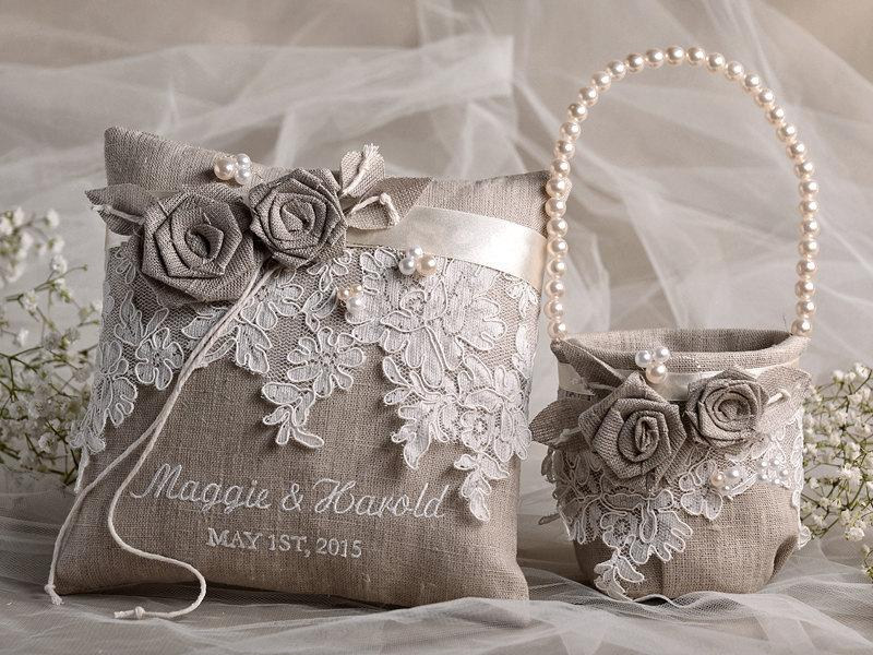 Flower Girl Basket & Ring Bearer Pillow Set, Shabby Chic Natural Linen, Embriodery Names ...